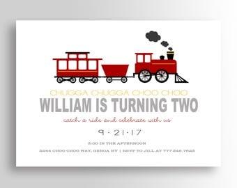 Train Birthday Invitation - Train Invitation - Train Birthday Party