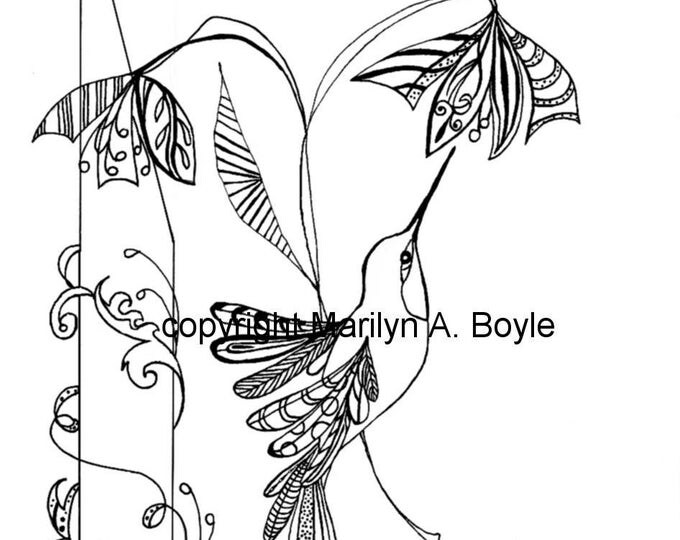 HUMMINGBIRD DIGITAL DOWNLOAD: Coloring page, flowers, zentangle, adult coloring page,