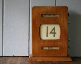 Wood Perpetual Desk Calendar Mid-Century Retro Piece for the Office or Study Wooden Bank Post Office Calendar