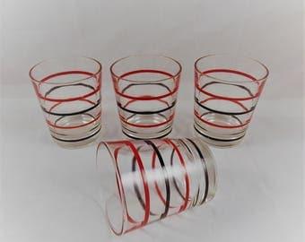 Vintage Rocks Glasses Red and Black Striped Set of 4