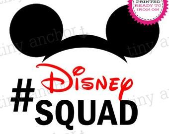 Hashtag #Disney Squad Mickey Ears Printed Iron On Transfer - Ready To Iron On - One Preprinted Sheet - Light or Dark Fabric Transfer