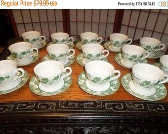 Save 25% Now Vintage Churchill Fine English Tableware Ivy Pattern Staffordshire England Cooks Club 14 Sets of Cups and Saucers