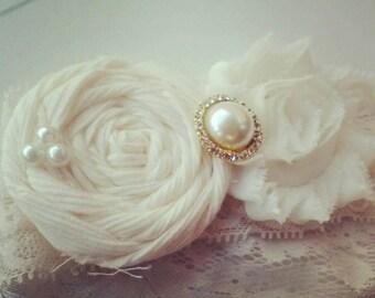 handmade Ivory garter set