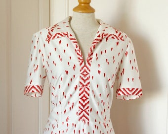 Vintage ' 60 years red dress with white print//Vintage sixties dress