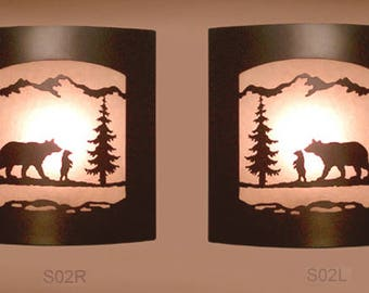 Pair of 2 Wall Sconce Rustic Bear Light, Cabin Decor Lamp Left & Right Facing