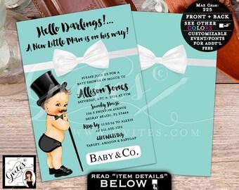 Breakfast at Tiffany's Little Man BABY SHOWER Invitation, baby and co bow tie baby shower invitations, bowtie boy, baby blue, PRINTABLE, 5x7