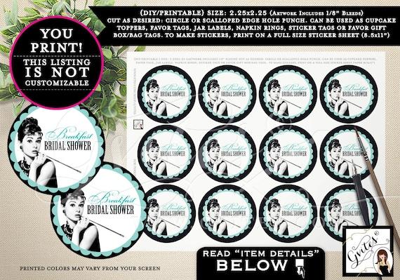 "Breakfast Bridal Shower PRINTABLE, cupcake toppers, favor tags, jar labels, napkin rings, sticker gift box/bag 2.25x2.25"" 12/Per Sheet"