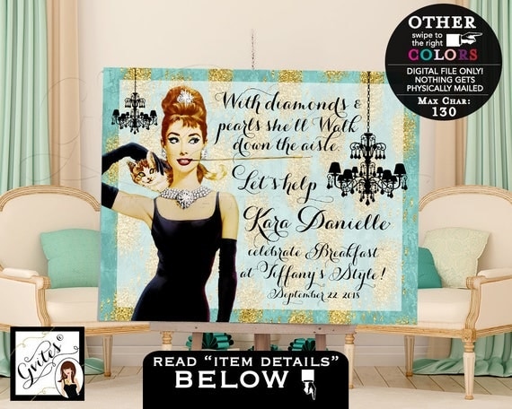 Breakfast at Tiffany's Party Sign, Bridal shower Table backdrop decor, welcome poster sign, Audrey Hepburn, turquoise and gold, PRINTABLE.