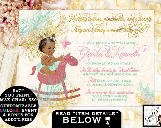 Pink and Gold Baby Shower Rocking Horse Baby girl invitation, princess, baby tutu, African American diamonds pearls, invites. PRINTABLE