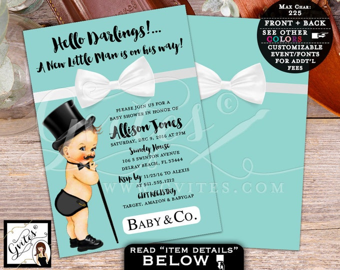 Breakfast at Tiffany's Little Man BABY SHOWER Invitation, baby and co bow tie baby shower invitations, bowtie boy, baby blue, PRINTABLE, 5x7