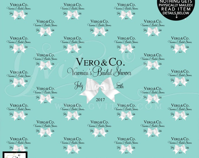 Step and Repeat Backdrops, breakfast at bridal shower, turquoise blue white bow, bride and co, custom backdrops, Shown in Size: 10ft x 8ft
