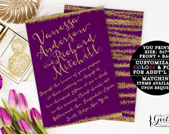 Purple & gold wedding invitations, printable wedding invites, plum eggplant customizable invitation, gold glitter glitz glam, couture.