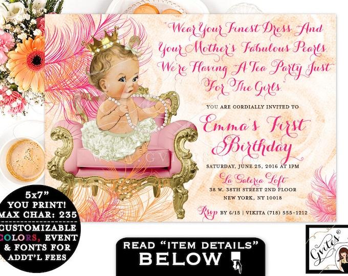Pink and Orange First Birthday Invitation Diamonds & pearls. Vintage baby girl PRINTABLE invitation, tea party baby girl 1st birthday 7x5.