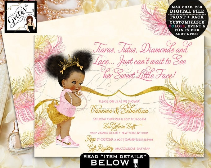 Blush Pink and Gold Baby Shower Invitation,pink, beige, African American princess tutus tiaras diamonds lace, printable, Double Sided 7x5