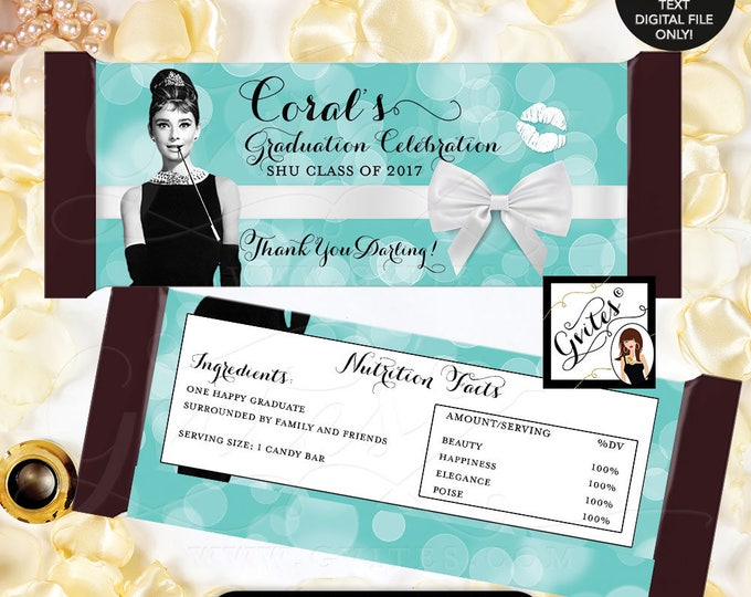 "Audrey Hepburn Candy Bar Wrapper Graduation favors, party gifts, hershey chocolate wrapper,PRINTABLE {2 Per/Sheet 5.25x5.75""}"