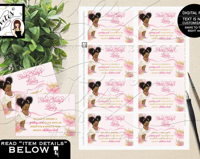 "Book For Baby Shower Request, Insert Cards, Pink and Gold Afro Puffs, Vintage Baby Girl African American 3.5x2.5""/8 Per Sheet #RBNAPU004"