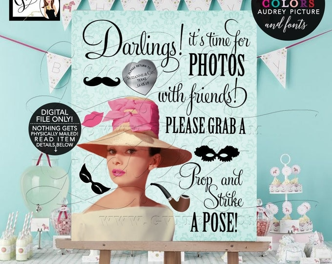Audrey Hepburn Photo Booth Sign, Breakfast at party themed party supplies, customizable picture, colors and fonts. 8x10 PRINTABLE