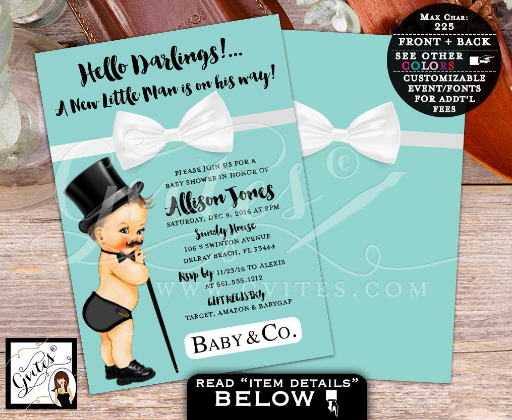Breakfast at Tiffany\'s Little Man BABY SHOWER Invitation, baby and ...