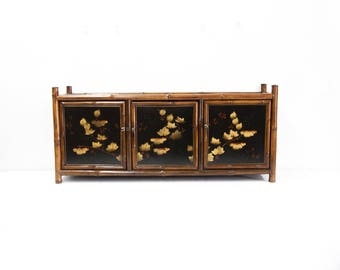 Bamboo Lacquer Three Door Cabinet