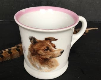 Antique early 1900s china mug with terrier dog design~pink white~ Steubenville China~collectible dog china from MilkweedVintageHome