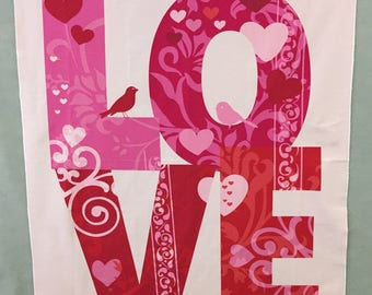 LOVE FABRIC PANEL with birds - 100% cotton; red/pink/Valentine's Day