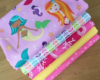 MER-MATES Fat Quarter Bundle H Michael Miller Quilting Fabric Pink Mermaid Sea