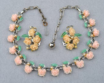 Pink Celluloid Flowers Necklace and Earring Set Vintage