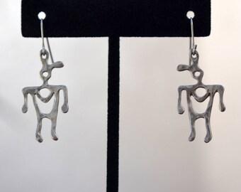 800 Silver Southwest Style Man Figural Earrings Vintage