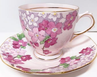 Delightful Pink Tuscan Teacup and Saucer, Vintage Teacups, Antique Tea Cups, Pink Tea Cups, Bone China Cups, Pink Floral Tea Cups