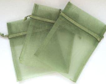 Green organza pouch size 9 x 7 cm