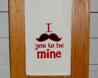 Mustache You to Be Mine Hand Towel