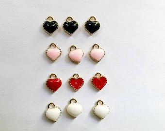 5 Enamel Heart Charms Jewelry Supplies EHC8MM-5WD1