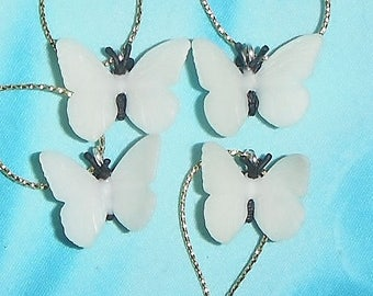 Set of Four ~ Glow-in-the-Dark Butterfly ~ Custom Mini Christmas Ornaments