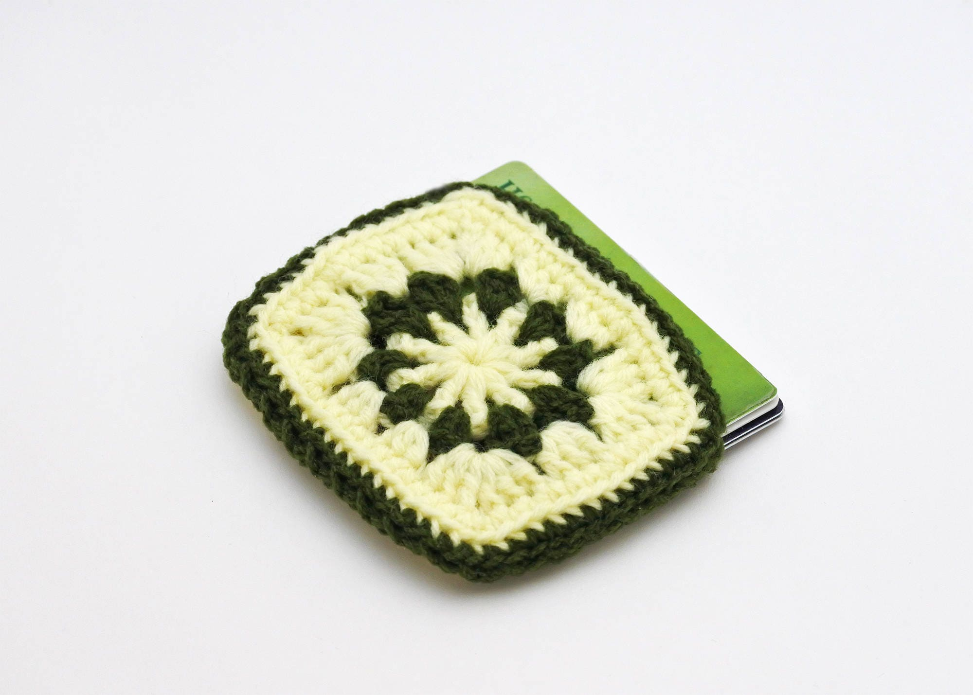business card holder vegan green and yellow credit card case