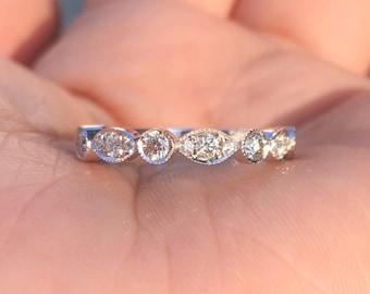 Marquise Dot Diamond Band .40 carat Diamond Art Deco Milgrain Eternity Band Unique Matching 14K Scalloped Wedding Ring Vintage Alternating