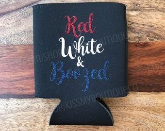 Red White & Boozed Can Cooler