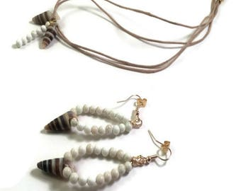 Periwinkle Earring Perwinkle Necklace Gemstone Necklace Upcycled Jewelry Bohemian Wedding Seashell  Eco Friendly Jewelry