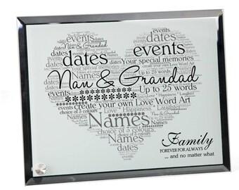 Nan & Grandad Personalised Word Art Glass Plaque
