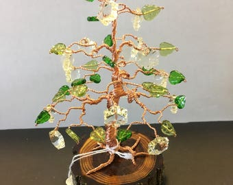 COPPER wire 'Bonsai' Tree with Green, glass leaf and metal dog beads
