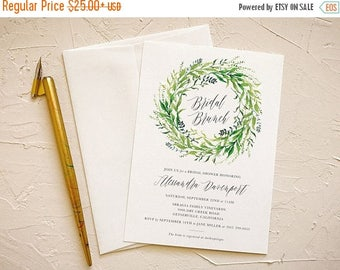 Greenery Invitation Wreath for Rustic Bridal Shower