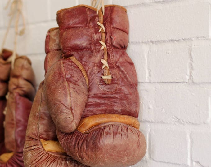 Large Heavyweight Leather Boxing Gloves Circa 1950s