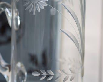 Vintage Cut Glass Tall Pitcher Jug - Botanical Design