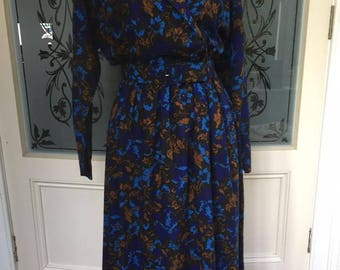 Vintage Floral print Midi Day Dress - UK 12