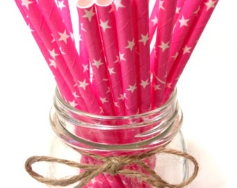 25 Solid Pink Star Paper Straws // baby bridal shower decorations // candy dessert buffet table // wedding / First birthday / new year party