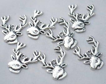 X 2 Tibetan silver deer head