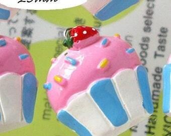 x 1 Cup cake Strawberry kawaii 25 mm