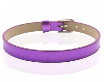 Faux leather purple 22 cm bracelet