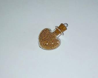 X 1 heart Golden micro-ball 30mm glass vial