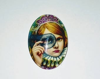 Oval glass Cabochon 1 X girl