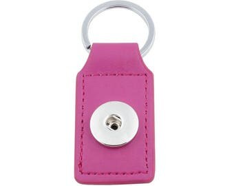 Keychain rectangle fuchsia faux leather snap button